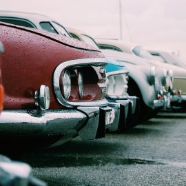 cars lined up in a parkinglot